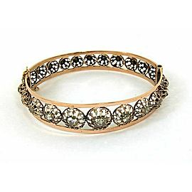 Victorian 1.20ct Rose Cut diamonds Bangle Bracelet in Rose Gold