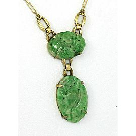Estate Hand-Carved Jade 14k Yellow Gold Necklace