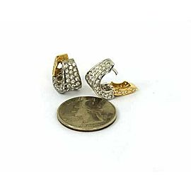 Estate 18k Two tone 1.50ct Pave Diamond Mini Hoop Earrings
