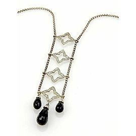 David Yurman Quatrefoil Diamonds & Briolette Onyx Drop Pendant Necklace