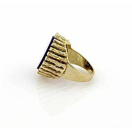 Estate Lapis 14k Yellow Gold Textured Round Shape Ring