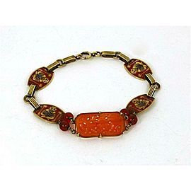 Carnelian & Enamel Buddha 14k Yellow Gold Bracelet