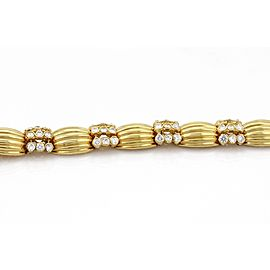 Heavy 18k Yellow Gold 9.00ct Diamonds Ribbed Link Bracelet
