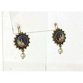 Victorian Hand painted Cameo Pearl Dangle Earrings
