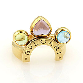 Bulgari Allegra Amethyst Peridot & Blue Topaz 18k Yellow Gold Ring Size 6.0