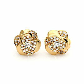 Chanel Camelia Diamond 18k Yellow Gold Floral Stud Earrings
