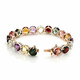 Estate18k Pink Gold Multi-Color Gemstones Circle Link Bracelet