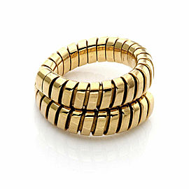 Bulgari Tubogas 18k Yellow Gold Bypass Flex Band Ring Size 6.5