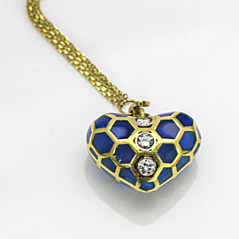 Blue Enamel Diamond Puff Heart Pendant on Chain in Yellow Gold