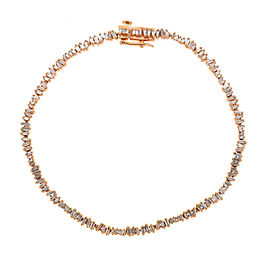 14k Rose Gold Thin Baguette Diamond Tennis Bracelet