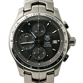 Tag Heuer Link CJF2115 Mens Automatic Watch Chronograph Black Dial 42mm