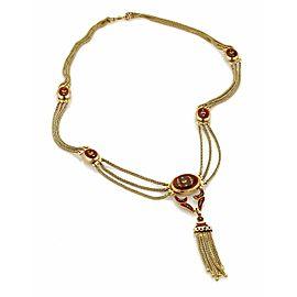 Vintage 18k Yellow Gold Red Floral Enamel Triple Strand Tassel Necklace