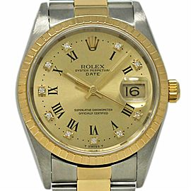 Rolex Date 15223 34mm Champagne Stainless Steel Yellow Gold 2001