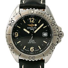 Breitling Shark A58605 Mens Quartz Watch Black Dial Stainless Steel 41mm