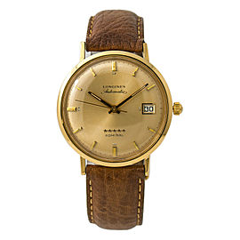 Longines Admiral 5 Star Mens Vintage Automatic Watch 18K Yellow Gold 35mm