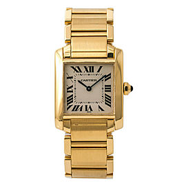 Cartier Tank Francaise Midsize 1821 Womens Quartz Watch 18K Yellow Gold 25mm