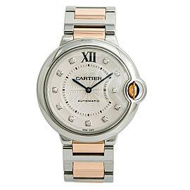 Cartier Ballon Bleu 3284 W3BB0018 Womens Automatic Watch Two Tone SS 36mm