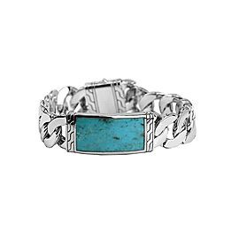 """JOHN HARDY STERLING SILVER CLASSIC CHAIN TURQUOISE 8.25"""" ID BRACELET"""