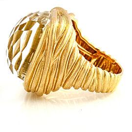 18k Rose Gold Rock Crystal Pave Diamond Fashion Statement Ring