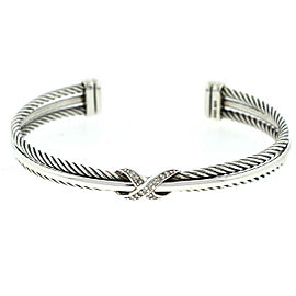 "David Yurman Sterling Silver ""X"" Crossover Bracelet w/ Diamonds"