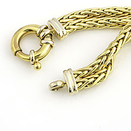18k Yellow and White Gold Double Wheat Chain Bracelet
