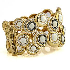 5.25 Carat 18k Yellow Gold White Coral Black Diamond Hinged Cuff Bracelet