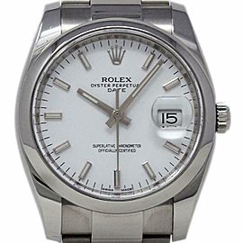 Rolex Date 115200 34mm Stainless Steel White Index 2014