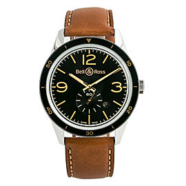 Bell & Ross Golden Heritage BRV 123-GH-ST-SCA Mens Automatic Watch SS 43mm