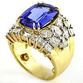 Emis Beros 11.71 Carat 18k Yellow Gold Tanzanite Diamond Statement Ring