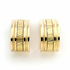 Tiffany & Co. ATLAS 18k Yellow Gold Roman Numeral Large Curved Huggie Earrings
