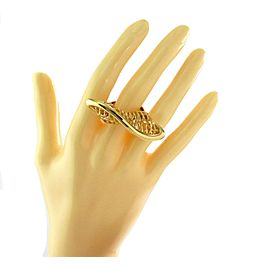 14k Yellow Gold Open Filigree Basket Design Twisted Long Top Ring - Size 7.5