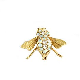 Herbert Rosenthal Diamond Opal & Ruby 18k Yellow Gold Bee Brooch Pin