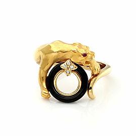 Carrera y Carrera 18k Yellow Gold Diamond Onyx Ruby Panther Ring Size 5