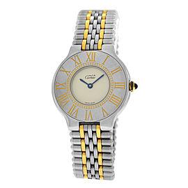 Ladies Cartier Must de Cartier 21 Steel 123000P Gold Bullet 31MM Quartz Watch