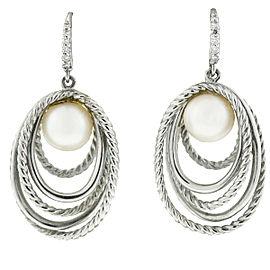 DAVID YURMAN Sterling Silver Cultured Pearl Crossover Diamond Drop Earrings