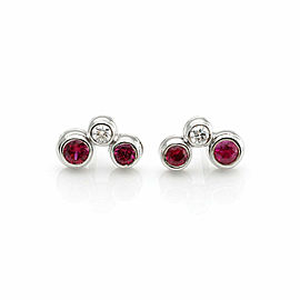 Tiffany & Co. Bubble Diamond Ruby Platinum 3 Stone Stud Earrings