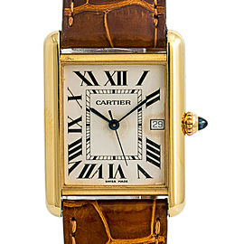 Cartier Tank Louis 2441 W1529756 Mens Quartz Watch 18K Yellow Gold 25mm