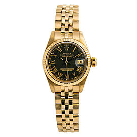 Rolex Datejust 6917 Womens Automatic Watch Black Buckley Dial 18K Gold 26mm