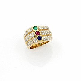 Diamond & Multi-Color Gems 18k Yellow Gold 3 Row Stack Ring