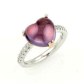 Mimi Diamond & Amethyst Heart 18k Two Tone Gold Ring