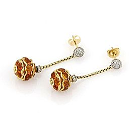 David Yurman Diamonds & Citrine Dangle Ball Drop 18k Gold Earrings