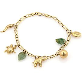 Vintage 14k Yellow Gold Jadeite & Assorated Seven Charms Bracelet