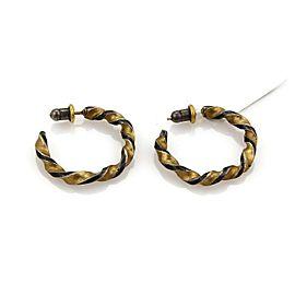 Gurhan MIDNIGHT Sterling & 24k Gold Twisted Hoop Earrings