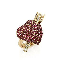 Estate Ruby & Diamond 18k Yellow Gold Cupid's Heart Ring