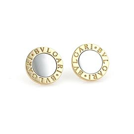 Bvlgari 18k Yellow Gold & Steel Large Signature Circle Stud Earrings