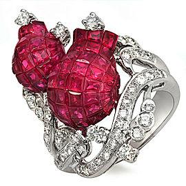 18K White Gold 0.92 CT Diamonds & Invisible 11.58 CT Ruby Tulip Ring »R2714