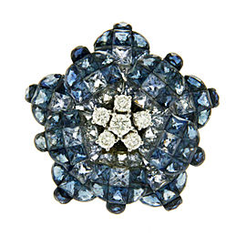 18K Gold 0.37 CT Diamonds & Invisible 13.90 CT Blue Sapphire Flower Ring »R2574