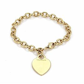 Tiffany Co. 18k Yellow Gold Heart Tag Charm Oval Chain Bracelet