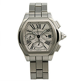 Cartier Roadster 3405 W6206019 Mens Automatic Watch Chronograph SS 44mm