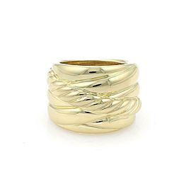 David Yurman 18k Yellow Gold Crossover Cable 16mm Wide Band Ring Size 8